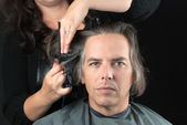 Man Getting Long Hair Cut Off For Cancer Fundraiser — Stock Photo