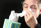 Man Blows Nose — Stock Photo