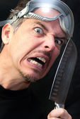 Crazy Man With Knife — Stock Photo