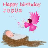 Baby jesus in a manger — Stock vektor
