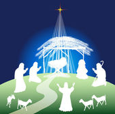 Christmas nativity scene silhouette — Stock Vector
