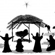 Nativity Silhouette — Vector de stock