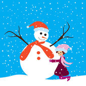 Happy girl and snowman — Vector de stock