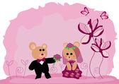 Wedding teddy bears — Stock Vector