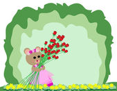 Teddy bear holding red rose — Stock Vector