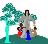 Jesus loves the little children — Stock Vector