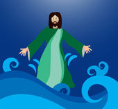 Jesus walking on the water — 图库矢量图片