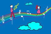 Couple on a rainbow — Stock Vector