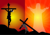 Jesus Christ crucifixion and resurrection — Stock Vector