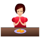 Woman praying during dinner — Stock Vector