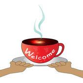 Tazza di caffè - benvenuti — Vettoriale Stock