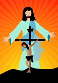 Jesus christ resurected — Stock Vector