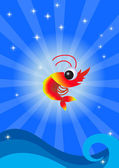 Funny shrimp — Vector de stock