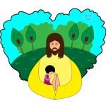 küçük kız için dua — Stok Vektör #46242131