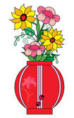 Flowers in vase — Vector de stock