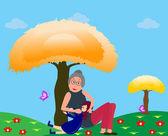 Büyükanne torunu ile — Stok Vektör