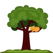 A cat on a tree — Stock Vector