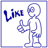 "Drawn smiling little man shows ""like"" — Stock Vector"