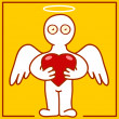 Stock Vector: Angel with heart