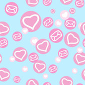 Seamless texture with hearts and envelopes — Stok Vektör