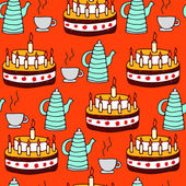 Seamless pattern of tea and pie — Stock Vector