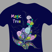 Magic tree - vector print for t-shirt — Stock Vector