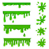 Green blots, splashes and smudges — Stock Vector