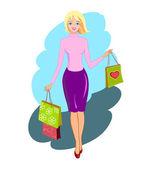 Mujer compra feliz — Vector de stock