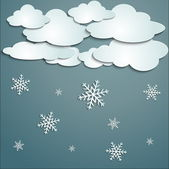 Winter with white clouds — Stock Vector