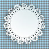 Doily on a plaid background — Stock Vector