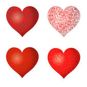 Set of hearts with a pattern — Stock Vector