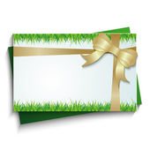 Card with a bow and grass — Stock Vector