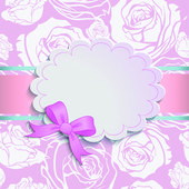 Beautiful card with a bow — Vector de stock