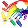 Crayons draw a rainbow — Stock Vector
