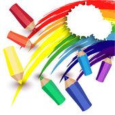 Crayons draw a rainbow — Stock Vector