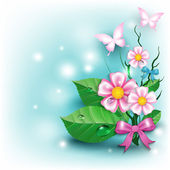 Beautiful background with flowers and butterflies — 图库矢量图片