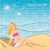 夏の背景と女の子 — ストックベクタ