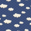 Seamless pattern with clouds and stars — Stock Vector