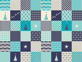 Seamless patchwork christmas pattern — Vettoriale Stock