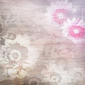Grunge achtergrond met bloemen — Stockfoto