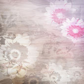 Grunge background with flowers — Stock Photo
