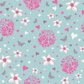 Seamless pattern with flowers, hearts and butterflies — ストックベクタ