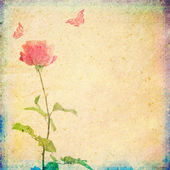 Vintage background with rose and butterflies — Stock Photo