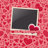 Photo frame with heart sticker and hearts pattern — Vector de stock