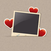 Photo frame with heart stickers — 图库矢量图片