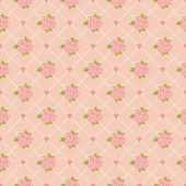 Seamless pattern with roses and hearts — Stockvector