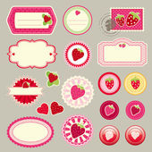 Cute elements with strawberries — Stock Vector