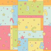 Patrones sin fisuras con estrellas, letras y números — Vector de stock