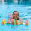 Aqua aerobic, woman in water with dumbbells — Stock Photo #33160735