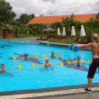 Aqua Gym aerobics fitness instructor in front of a group of people in the water performing exercises. — Stock Photo